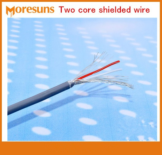 Fast Free Ship 20M/lot Two Core Shielded Wire 28AWG*2C Pure Copper Audio Cable Signal Wire