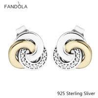 CKK 14K Gold Interlinked Circles 925 Sterling Silver Stud Earrings Original Jewelry Making For Women Gift