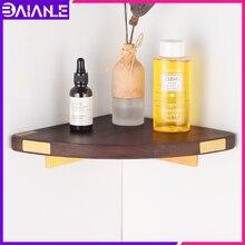 цена Bathroom Corner Shelf Organizer Brass Wood Corner Storage Holder Shelves Decorate Wall Mounted Shower Caddy Shampoo Holder Rack в интернет-магазинах