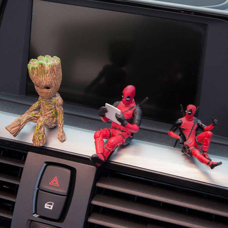 X-Men Moda Ornamnets Carro Deadpool Action Figure Modelo Sentado Anime Mini Boneca Decoração Do Carro Acessórios Do Carro Araba Aksesuar