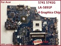 NEW70 LA-5891P motherboard Para acer aspire 5741 5741G laptop mainboard DDR3 100% testado
