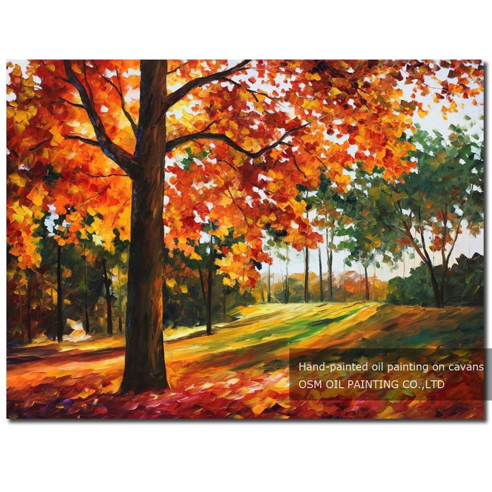 Us 22 0 50 Off Fresh Colors Hand Painted Modern Abstract Autumn Leaves Oil Painting On Canvas Beautiful Orange Colour Fall Oil Painting In Painting