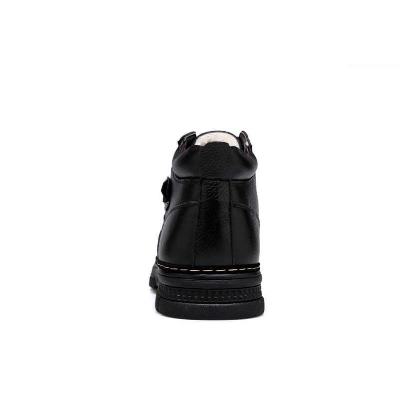 ROXDIA winter sneeuw lederen mannen laarzen warm bont enkellaars waterdichte voor vader mannelijke schoenen 39-44 RXM066