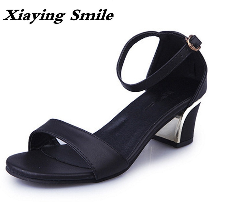Xiaying Smile Summer Woman Sandals Fashion Women Pumps Square Cover Heel Buckle Strap Bling Casual Concise Student Women Shoes xiaying smile summer woman sandals square cover heel woman pumps buckle strap fashion casual flower flock student women shoes