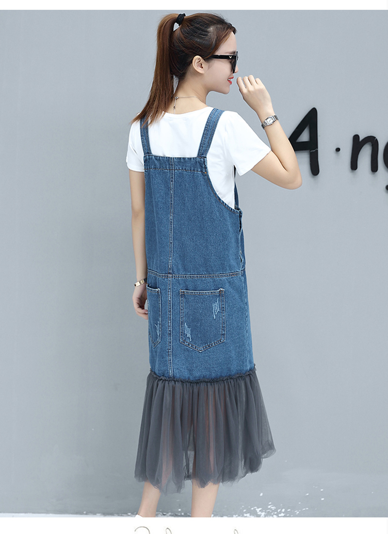 a5a17160141 Rugod Add 3XL Plus Size women Dress vintage Denim Overall dress with ...
