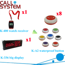 Wireless Pager System Call Display Wrist Watch Receiver Call Transmitter Button 433MHZ( 1 display+1 wrist pager+8 call button )