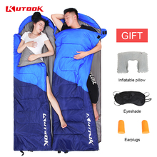 KUTOOK Portable Warm Double Sleeping Bag Adults Winter Thermal Lazy Bag Waterproof Hiking Camping Outdoor Sports Sleeping Bed цена
