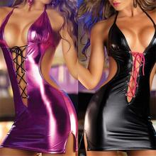 Erotic Sexy Pu Leather Mini Dress Club Wear