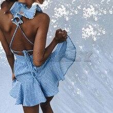 Cuerly sexy summer striped dress women deep v neck ruffle pom pom mini dress beach party dress L5