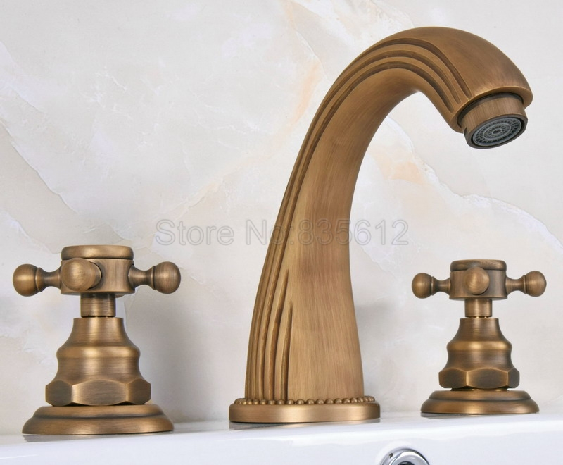 Widespread Antique Brass Gooseneck Style Bathroom Basin Faucet / Classic Deck Mounted Dual Handles Vessel Sink Mixer Taps Wan068