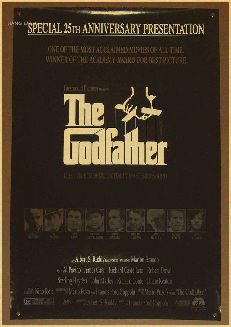 The Godfather Classic Gangster Movie Retro Poster Room Decorative Vintage Painting Marlon Brando Prints