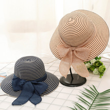 2019 New Round Top Wide Brim Straw Hats Summer Sun for Women With Leisure Beach Flat Black Bowknot Female Caps