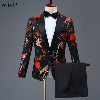S-4XL nouveau homme mode broderie haute qualité fête Blazer + pantalon solide costumes mâle décontracté Slim Blazer manteau costume survêtement 1120