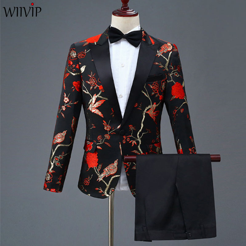 S 4XL New Man Fashion Embroidery High Quality Party Blazer + Solid Pant Suits Male Casual Slim Blazer Coat Suit Outerwear 1120