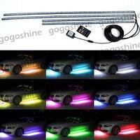 4pcs RGB LED Under Car Tube Strip Underglow Body Neon Light Wireless Remote US