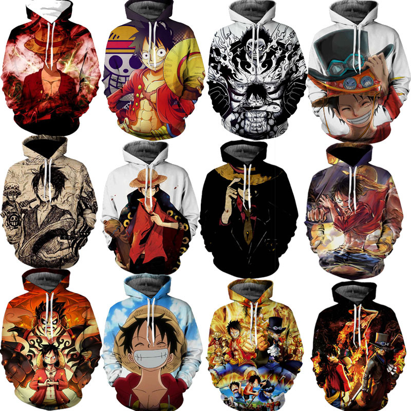 Anime ONE PIECE Costume Monkey D Luffy Sweatshirts Cosplay Autumn Men European and American 3D Printing Jacket Hooded sweater