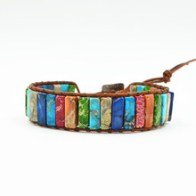 2019 Ethnic Bohemia Women Chakra Natural Tube Stone Beads Bracelet Colorful Statement Leather Wrap Bracelet Ladies Jewelry Gift(China)
