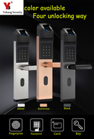 YobangSecurity Home Anti theft Intelligent Biometric Fingerprint Lock Keyless Smart Door Lock Fingerprint+Password+RFID Card+Key