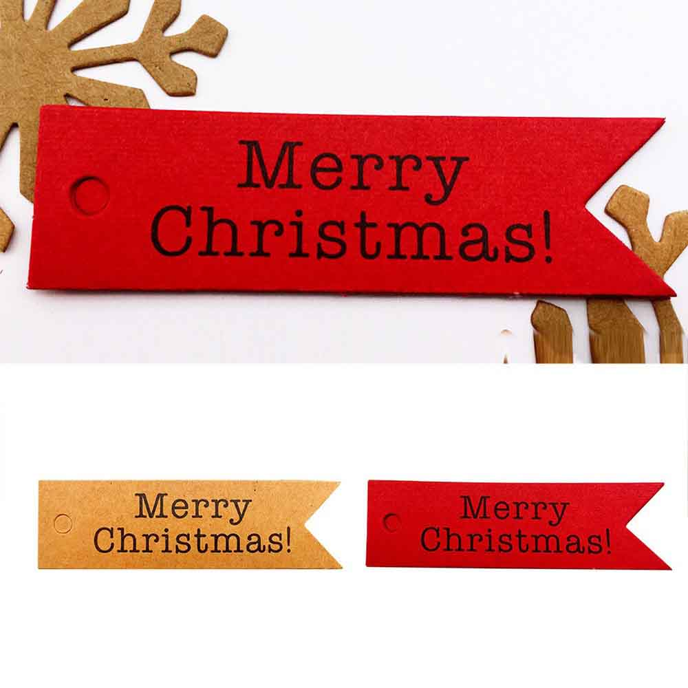 100PCS Merry Christmas Gift Tags Candy Bag Box Hang Paper