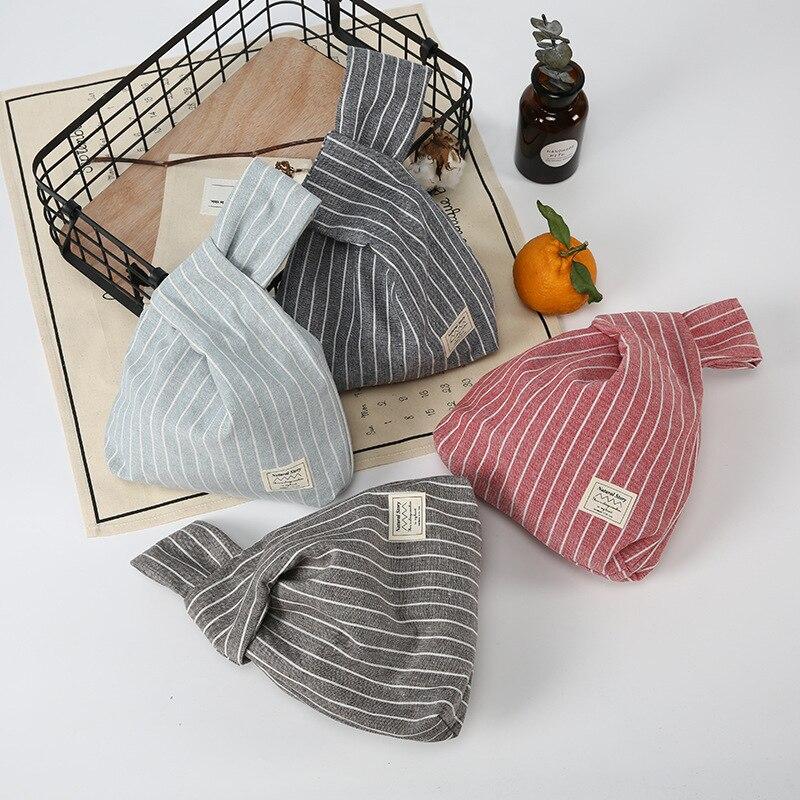 4f3eb5324c Tangimp strisce verticali borselli sacchetti di cotone di stile giapponese  borse tote semplice borsa della moneta per il regalo originale grande  capacità in ...