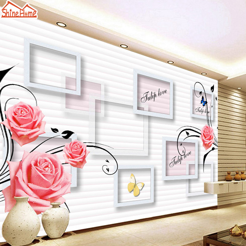 ShineHome-Red Rose Frame Flower Large Custom 3D Wall Murals Contact Paper Home Decor Living Room Bedroom Wallpaper-Roll-Size custom photo 3d ceiling murals wall paper blue sky rose flower dove room decor painting 3d wall murals wallpaper for walls 3 d
