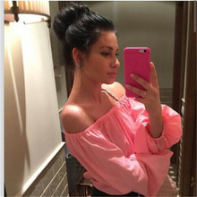 Autumn Summer Women Slash Neck Off The Shoulder Solid Puff Sleeve Shirts Clothes Casual Stylish Tops Shirts Blouses One Size