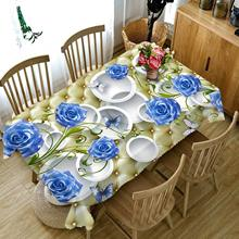 Narwaldate 3D Table Cloth High Density Fabric Tablecloth Rose Lace Floral Cover Christmas Wedding Decoration