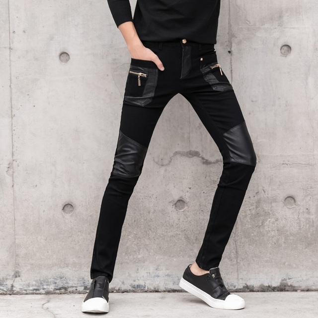 Fashion Men's Pant Faux Leather Jeans Spliced Denim Trousers Male Stretch Slim Fit Punk Stage Singer Motorcycle Casual Pants Men 2