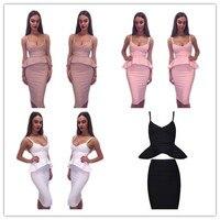 4 צבעים עירום, ורוד, שחור צבע גבירותיי 2 Pieces סקסי ראפלס סלבריטאים אופנה שמלה באורך הברך Bodycon שמלה באיכות גבוהה