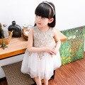 2017 Verão Novo Colete Vestido de Renda Applique vestido de Damas Vestido de Princesa Vestido Da Menina de Festa de Aniversário de Casamento de Ouro Branco Vestido