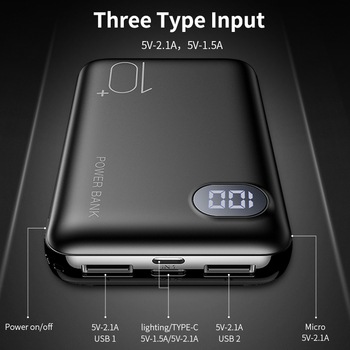 RAXFLY Power Bank Mini Power Bank For Xiaomi mi Powerbank 10000 mAh Phone Charger Dual USB External Battery Portable LED Display 1