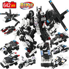 8 in 1 642pcs Robot Building Blocks Compatible City SWAT Mech Team Armored Ares Police Bricks Educational Toys for Children(China)