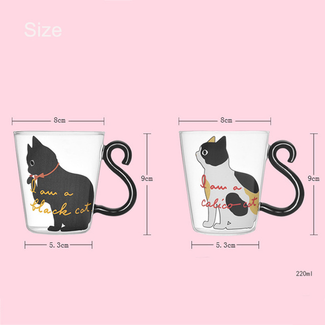 Cute Creative Cat Kitty Glass Mug Cup Tea Cup Milk Coffee Cup Cartoon Kitten /Little black cat Home Office Cup Fruit Juice 2