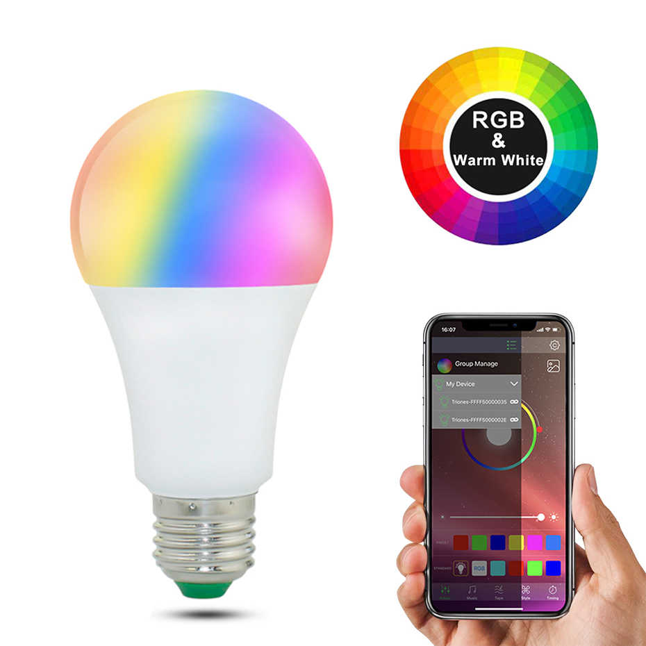 20 modos regulables E27 RGB LED Bombilla inteligente 15W Bluetooth lámpara mágica RGBW RGBWW lámpara inteligente B22 Control de música aplicable a IOS/Android