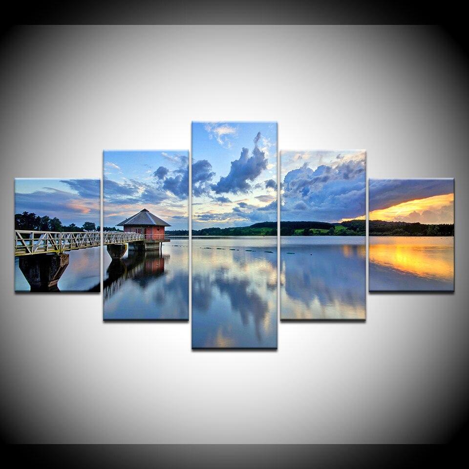 Framework HD Print Wall Art Pictures 5 Pieces Sea Bridge Blue Sky White Cloud Seascape Decor Room Poster Modular Canvas Painting
