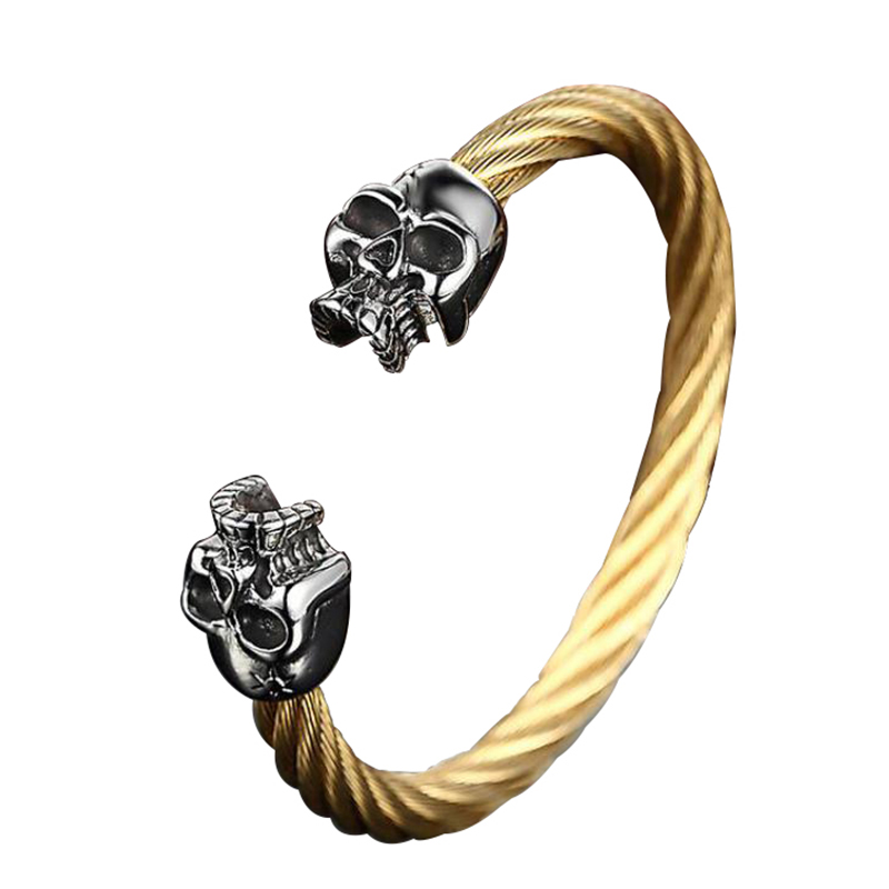 Viking Crâne Bracelets et Bracelets Pour Hommes En Acier Inoxydable 316L or Noir Couleur Tordu Fil Câble Mâle Bijoux 2017 Nouveau arrivées