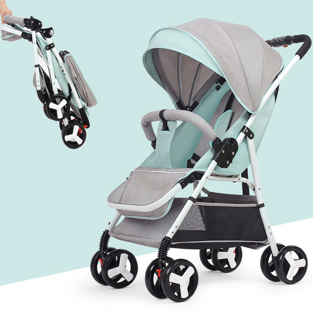 High View Baby Stroller Portable Can Sit Lie Flat Folding Baby Cart Newborn Baby Carriage Portable Travel Four Wheels Stroller