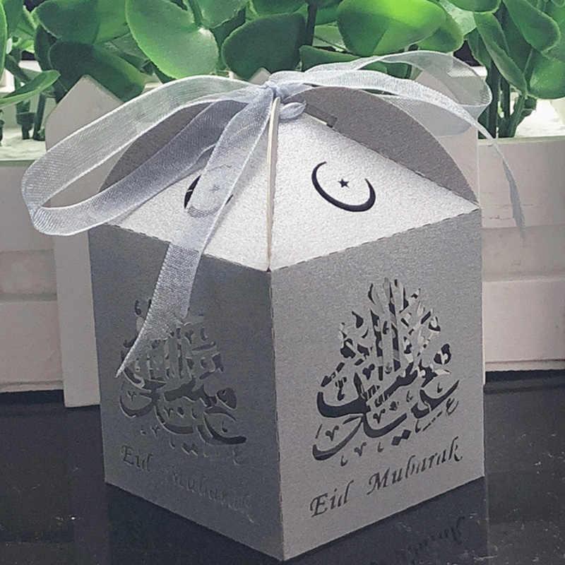 10 stücke Eid Mubarak Candy Box Favor Box Ramadan Dekorationen DIY Papier Geschenk Boxen Glücklich Islamischen Muslimischen al-Fitr eid Partei Liefert