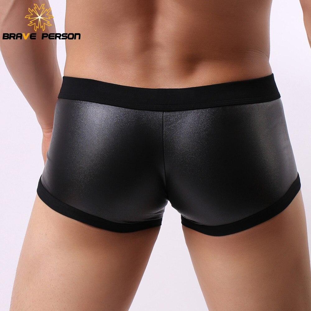 3pcs lot BRAVE PERSON Boxers Men Male Underwear Boxer Shorts Men Sexy Imitation Leather Fabric Boxershorts Men 39 s Underpants New in Boxers from Underwear amp Sleepwears