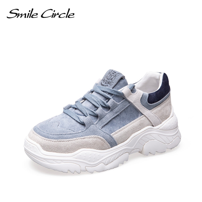 Smile Circle 2019 spring Suede Sneakers Women Lace up Flat Shoes Women Comfortable Breathable Sneakers casual