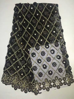 African Lace Fabric High Quality With Stones For Wedding 2017 Nigerian Lace Fabrics Black Yellow White