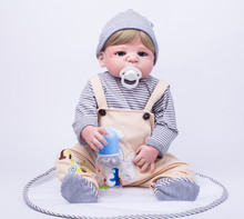 Full body silicone reborn boy baby doll toys 55cm handsome newborn babies child brithday gift girls brinquedos bathe shower Toy