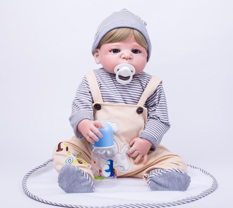 Full body silicone reborn boy baby doll toys 55cm handsome newborn babies child brithday gift girls brinquedos bathe shower Toy