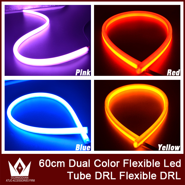 Guang Dian Dual color flexible Illuminating White Amber Switchback LED Strip Lights Headlight Retrofit Tube Style Drl For camry