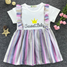 New Summer Dress For Girl Striped Cute Short Sleeves Children Dresses Print Casual Comfortable Cotton Baby Girl Clothing