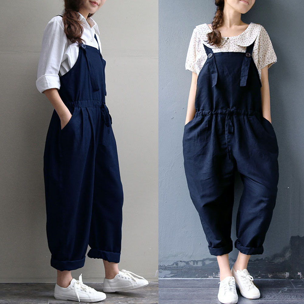 Women Oversized Dungaree Jumpsuits 2020 Spring Summer New Trens Casual Loose Solid Colors Pocket Long Wide Leg Pant Trousers#V