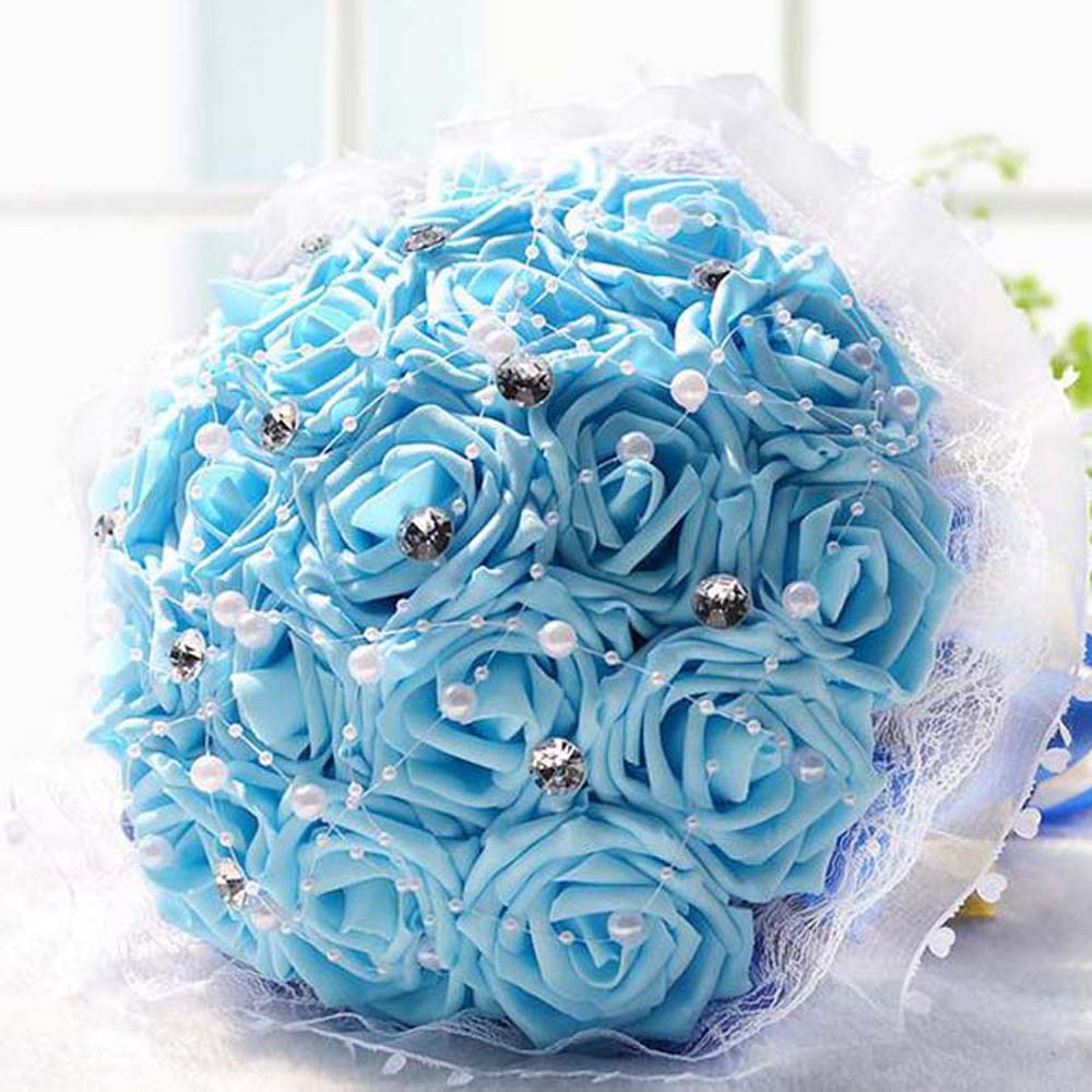 Popular crystal flower bouquets buy cheap crystal flower bouquets wedding flowers bridal bouquet pe rose artificial flower bouquets wedding decorative bridesmaid flower bouquet crystal pearl dhlflorist Gallery
