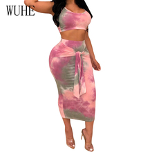 WUHE Fashion Sexy Tie-dyed Print Sleeveless Two-piece Dress Women Summer Vintage Tie Up Bodycon Celebrity Party Pencil Dresses