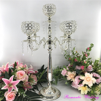 4PCS/lot Stunning Metal Silver Candelabras With Carving Arms Crystal Bead On Sale for Wedding party event home decoration