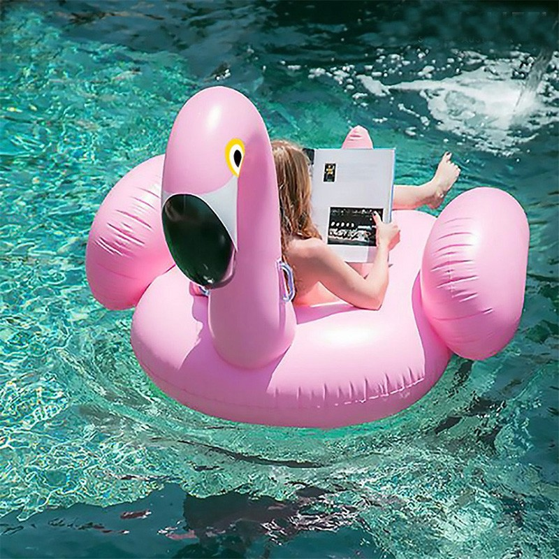 75 Inch Inflatable Flamingo Ride-on Pool Toys Float Water Fun Air Mattress Inflated Swimming Rings for Summer Pool Party Favor (3)